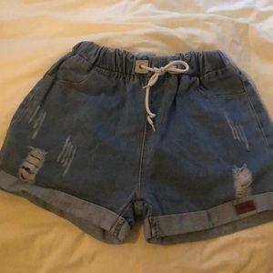 *4 for $15!* High waisted drawstring denim shorts